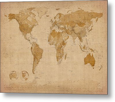 Old Map Digital Art Metal Prints
