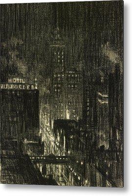 American City Scene Drawings Metal Prints