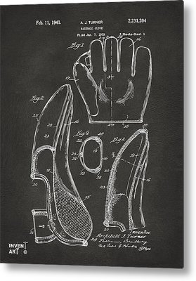 Baseball Glove Drawings Metal Prints