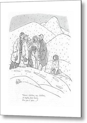 Dog In Snow Drawings Metal Prints