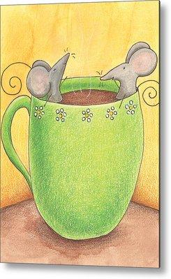 Cups Drawings Metal Prints
