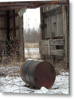 Barn And Rusted Barrel Metal Prints