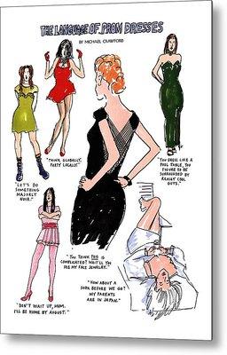 Strapless Dress Drawings Metal Prints