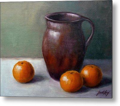 Still Life With Old Pitcher And Tangerines Metal Prints