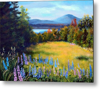 Maine Meadow Paintings Metal Prints