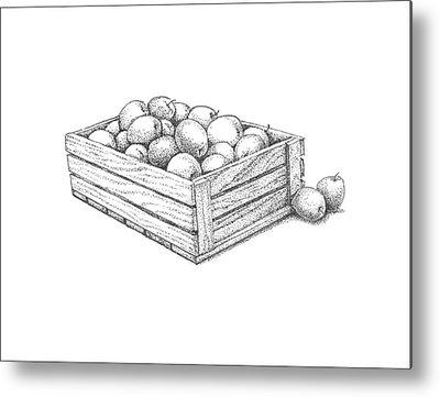 Apple Crates Drawings Metal Prints