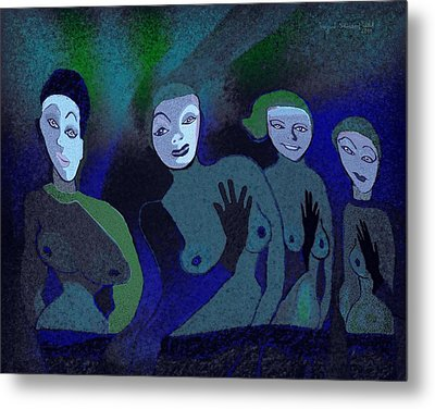 155 - Blue Ladies -1- Metal Print by Irmgard Schoendorf Welch