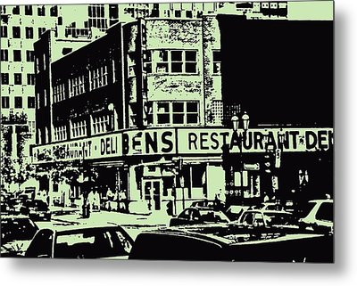 Ben's Resto Delicatessan Lunchtime Crowds And Traffic Jams Vintage Montreal Memorabilia Metal Print by Carole Spandau