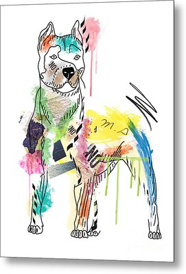 Cute Pit Bull Metal Print by Mark Ashkenazi