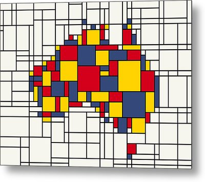 Mondrian Inspired Australia Map Metal Print