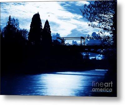 Metal Print featuring the photograph  Montlake Bridge In Seattle Washington At Dusk by Eddie Eastwood