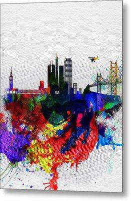 San Francisco Watercolor Skyline 1 Metal Print by Naxart Studio