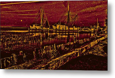 Stary Night Time At The Docks Metal Print by Will Burlingham