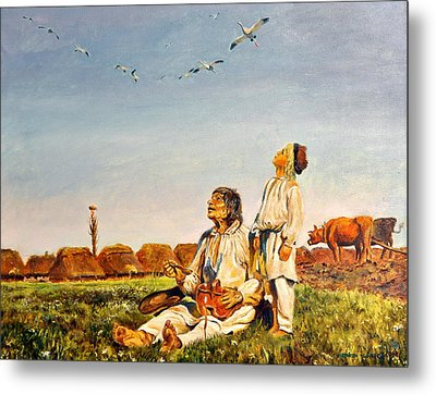 Metal Print featuring the painting End Of The Summer- The Storks by Henryk Gorecki