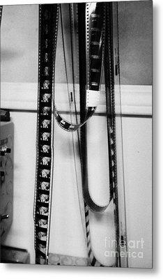 35mm Cinema Film Intro Hanging In Old Cinema Projection Room Biggar Saskatchewan Canada Metal Print
