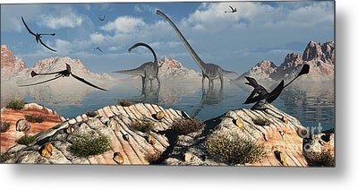 A Herd Of Omeisaurus Dinosaurs Feeding Metal Print by Mark Stevenson