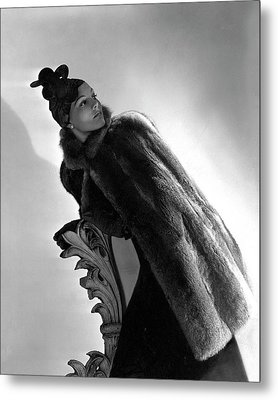 A Model Wearing A Fur Cape Metal Print by Horst P. Horst
