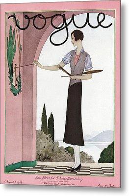 A Vintage Vogue Magazine Cover Of A Woman Metal Print