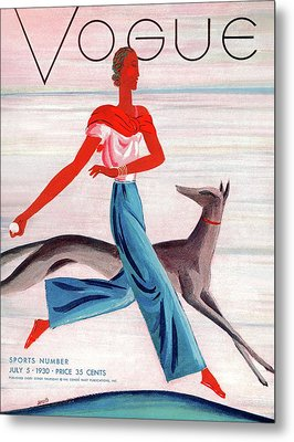 A Vintage Vogue Magazine Cover Of An African Metal Print by Eduardo Garcia Benito