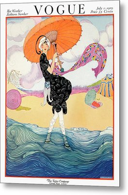 A Vogue Cover Of A Woman On A Beach Metal Print by Helen Dryden