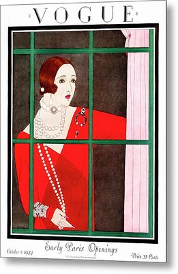 A Vogue Magazine Cover Of A Woman Metal Print by Harriet Meserole