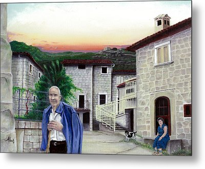 Metal Print featuring the painting A Walk With Dante by Albert Puskaric