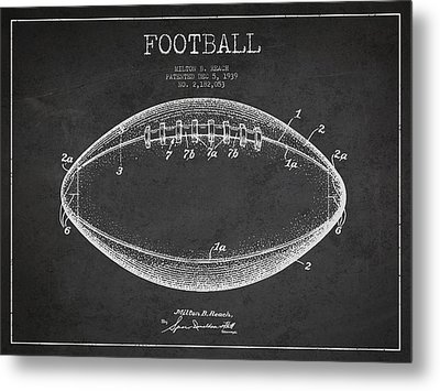 American Football Patent Drawing From 1939 Metal Print by Aged Pixel