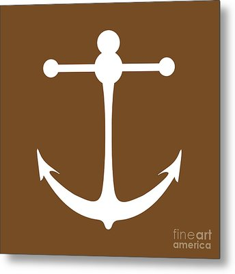Anchor In Brown And White Metal Print