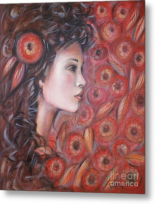 Asian Dream In Red Flowers 010809 Metal Print