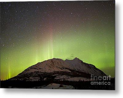 Aurora Borealis And Milky Way Metal Print by Joseph Bradley