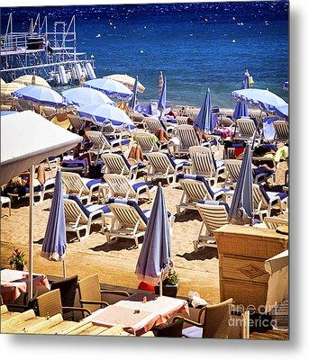 Beach In Cannes Metal Print by Elena Elisseeva