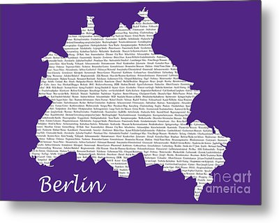 Berlin Map Typgraphy Metal Print