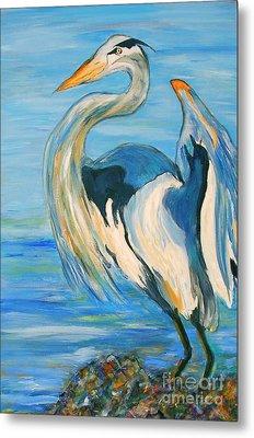 Blue Heron II Metal Print by Ellen Anthony