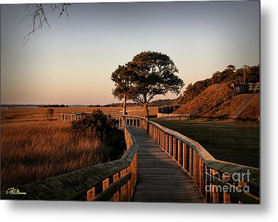 Boardwalk At Fort Fisher Metal Print by Phil Mancuso