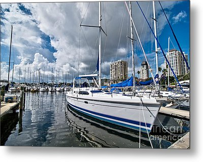 Boats In Marina Saint Petersburg Florida Metal Print by Amy Cicconi