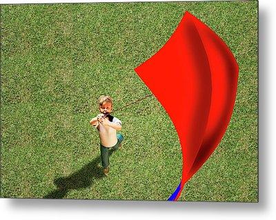 Boy Flying A Kite Metal Print