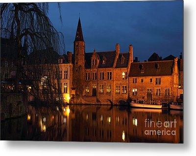Bruges Rozenhoedkaai Night Scene Metal Print by Kiril Stanchev