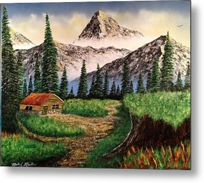 Metal Print featuring the painting Cabin In The Mountains by Michael Rucker