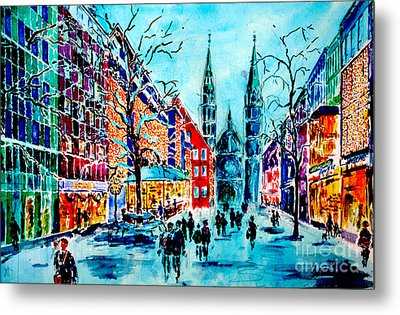 Metal Print featuring the painting Carolines Shopping Street by Alfred Motzer