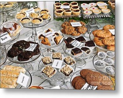 Desserts In Bakery Window Metal Print by Elena Elisseeva