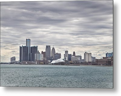 Detroit Skyline From Belle Isle Metal Print