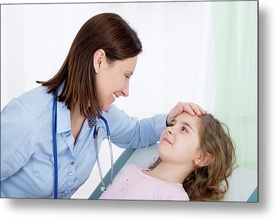 Doctor Caring For Girl Metal Print
