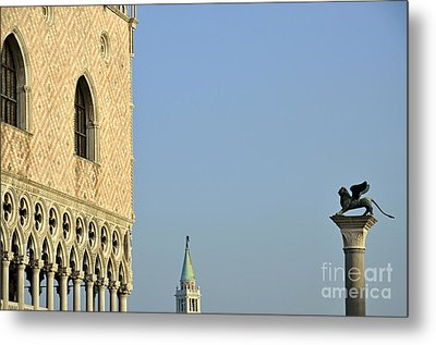 Doges Palace And Column Of San Marco Metal Print