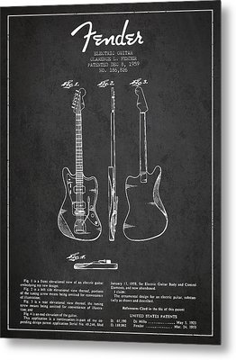 Electric Guitar Patent Drawing From 1959 Metal Print by Aged Pixel