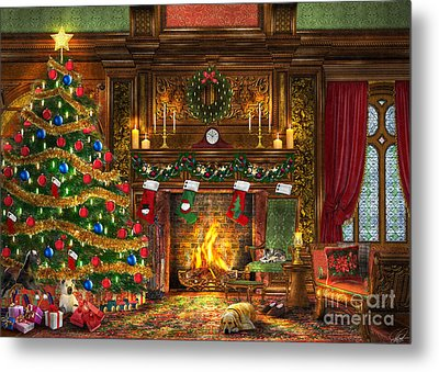 Festive Fireplace Metal Print