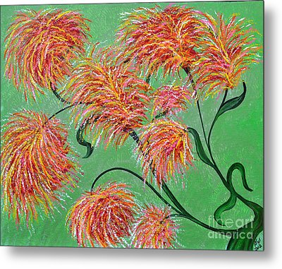 Metal Print featuring the painting Fireworks by Alys Caviness-Gober