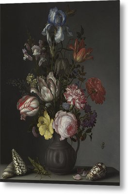 Flowers In A Vase With Shells And Insects Metal Print