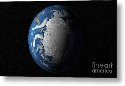 Ful Earth Showing Simulated Clouds Metal Print by Stocktrek Images