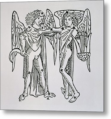 Gemini An Illustration Metal Print by Italian School