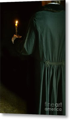 Gentleman In 18th Century Clothing With A Candle Metal Print